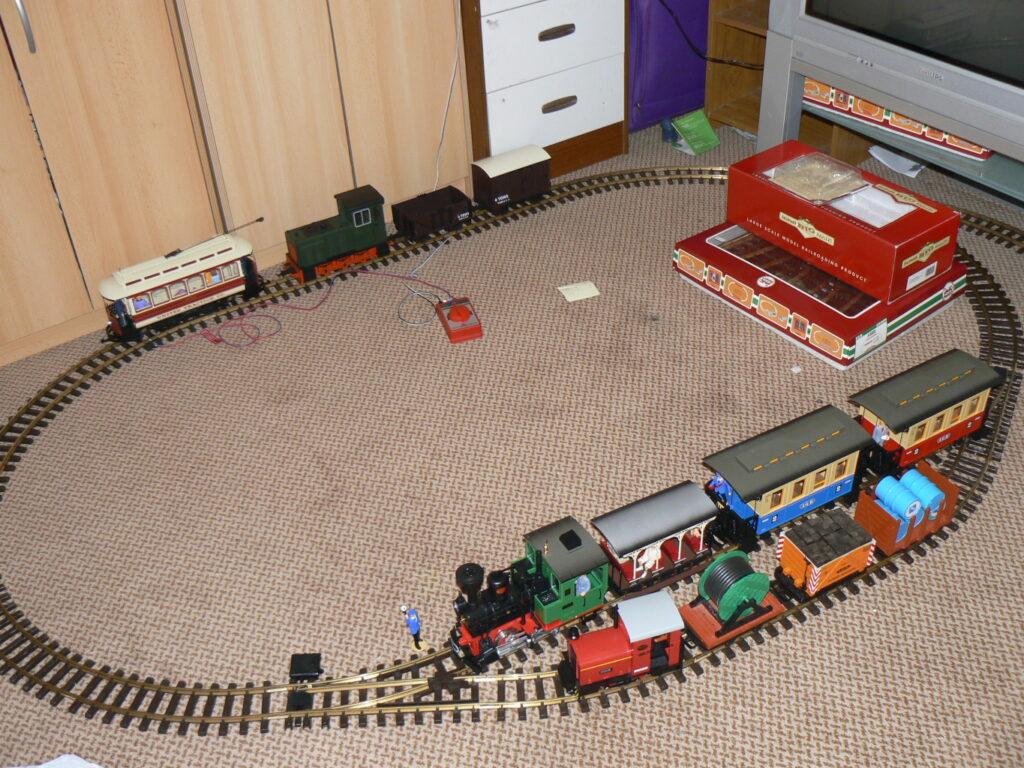 Trains on the bedroom floor