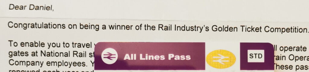 Snapshot of the 'Golden Ticket' letter and part of the pass.